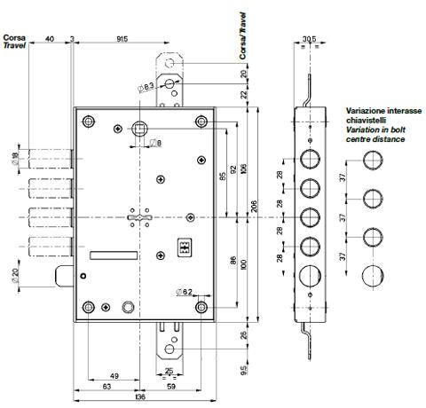 Serratura porta blindata mottura triplice 1 2g 103 - Doppia serratura porta blindata ...
