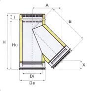 Canna fumaria raccordo braga 135 iso25 doppia parete for Raccordo in acciaio verticale
