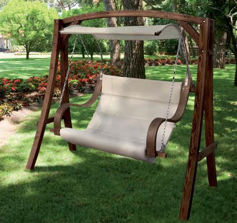 Dondolo 2 posti salemi con struttura in legno - Dondolo da giardino 2 posti ...
